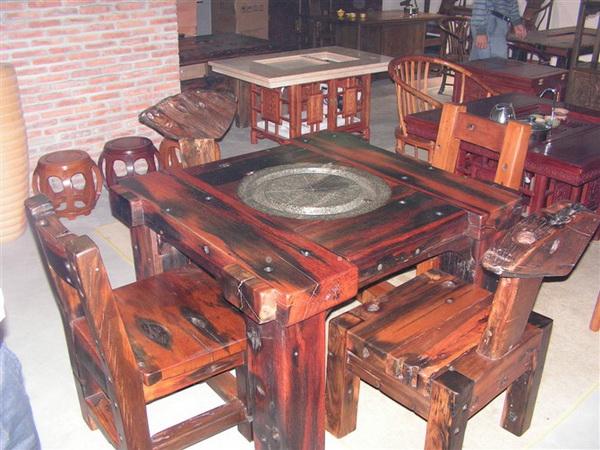 1.08米古船木石磨茶台(茗水轩)